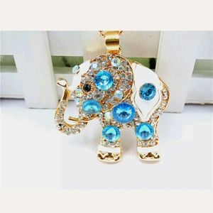 Gorgeous Blue Elephant Sweater Necklace